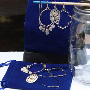 Set (4 Pairs) Silver Dangle & Drop Hook Earrings